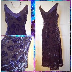 Sigrid Olsen burnout velvet dress, size 12 Midnight blue, burnout velvet dress. Perfect for a night out, cocktail parties, date night, etc. Neckline is  bordered with metallic fabric. Color ranges from midnight blue to lighter shades of blue, a little gray, a little green. Excellent condition. Sigrid Olsen Dresses Midi