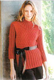 Delicadezas en crochet Gabriela: 38 Prendas tejidas paso a paso Turtle Neck, Pullover, Knitting, Sweaters, How To Wear, Fashion, Tricot, Knit Wrap, Sweater Knitting Patterns