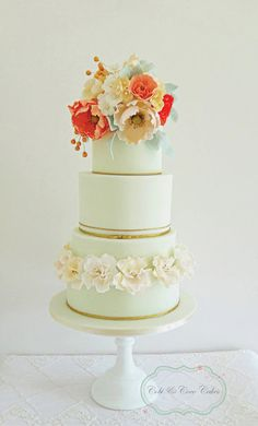 Mint & Coral | Artistic Wedding Cake