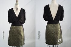 PLEATED CHIFFON JACQUARD DRESS