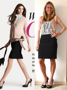 adorable work outfit. I have a peach blazer and grey animal print top. Add boots for winter.