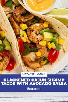 18 mins. · Serves 4 · Brimming with the freshest ingredients, these Blackened Cajun Shrimp Tacos with Avocado Salsa are perfect for a healthy summer dinner meal. Try the recipe now! #Recipes #Food #Crave #Tasty #Yummy #Delicious #FoodTrip #FoodLover #Recipes.net #foodporn #Cook #Cooking #Foodie #foodblog #homemade #summerdinnerideas #Healthydinnerideas Cajun Shrimp Tacos Recipe, Shrimp Taco Recipes, Wrap Recipes, Dinner Recipes, Tasty Dishes, Main Dishes, Food Porn, Dinner Meal, Healthy Summer