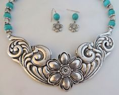 Cowgirl Bling Classic Western Scroll Flourish Turquoise Silver Gypsy Necklace our prices are WAY BELOW RETAIL! all JEWELRY SHIPS FREE! www.baharanchwesternwear.com baha ranch western wear ebay seller id soloedition
