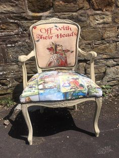 Pin by Kylie Hayward on Home in 2019 Painted Chairs, Hand Painted Furniture, Funky Furniture, Upholstered Furniture, Upcycled Furniture, Furniture Makeover, Furniture Dolly, Alice In Wonderland Room, Kleidung Design