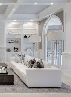 Elegant All white living room decor with white RH Maddox sofa #maddox #rh #interiordesign Glam Living Room, Elegant Living Room, Living Room White, Elegant Home Decor, Elegant Homes, Living Room Decor, Extreme Makeover Home Edition, Upholstered Sofa, Space Furniture