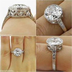 3.09ct Estate Vintage Old European Diamond Engagement Wedding Platinum Ring EGL USA