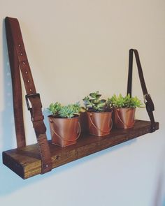 Upcycled Shelf with Leather Belt Straps by OffPonce on Etsy