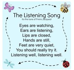 The Listening Song for kids. Joe from parks are rec, aka Keegan Michael Key, sang this song! p The Listening Song for kids Joe from parks are rec aka Keegan Michael Key sang this song p Kindergarten Songs, Preschool Songs, Preschool Learning, Listening Activities For Kids, Transition Songs For Preschool, Kindergarten Circle Time, Preschool Transitions, Manners Preschool, Preschool Good Morning Songs