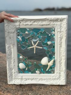 Shabby Chic Frame with Shells and Beach Glass