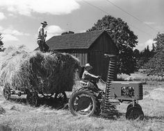 Harvest time! Tractor and hay wagon by OSU Special Collections & Archives, via Flickr