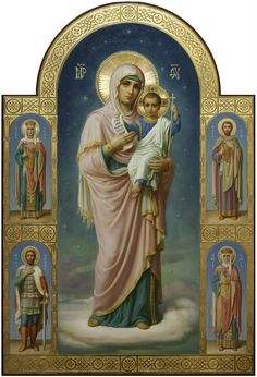 Theotokos with the Child and the chosen saints, the icon in the academic style Divine Mother, Blessed Mother Mary, Blessed Virgin Mary, Religious Images, Religious Icons, Religious Art, Religion, Mama Mary, Queen Of Heaven