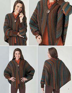 Ravelry: Cuffed Shawl with Hood pattern by Shelle Hendrix Cardigan Au Crochet, Crochet Cape, Knitted Cape, Crochet Jacket, Knitted Shawls, Crochet Scarves, Crochet Clothes, Crochet Sweaters, Pull Crochet