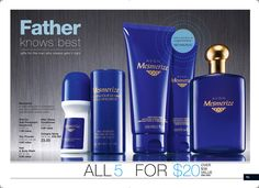 Mesmerize for Him 5-Piece Bath & Body Set - There's nothing more compelling than a mystery: Unlock the power of intrigue and your irrestibly magnetic allure with the scents of Bergamot and spicy cardamom, mixed with sophisticated woods. A $38 value, the set includes:  Cologne Spray – $23 value. After Shave Conditioner – $4 value. Hair & Body Wash – $5.50 value. Talc Powder – $4 value. Roll-On Anti-Perspirant Deodorant – $1.99 value. To purchase, shop carolsorensen.avonrepresentative.com, C12