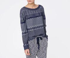 Sweatshirt mit Jacquardmuster in Indigoblau - OYSHO