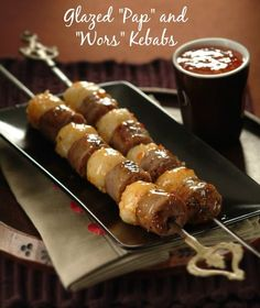 "Glazed ""Pap and Wors"" Kebabs with Tomato Dip - a South African Game Day recipe for success! Spaghetti With Ground Beef, Best Meat Dishes, South African Recipes, South African Food, Bacon Wrapped Appetizers, Braai Recipes, Beef Flank Steak, Onion Soup Recipes, Meat Platter"