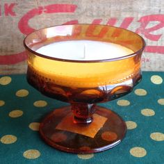 1950s Indiana Glass Sherbet Cup Soy Candle  Sandalwood by reSOYcle