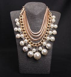 Big pearl pendant huge statement necklace wholesale