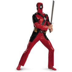 Deadpool Classic Adult Costume (£37) ❤ liked on Polyvore featuring costumes, halloween costumes, giraffe costume, adult halloween costumes, adult costumes, adult giraffe costume and adult giraffe halloween costume