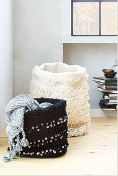 adding fringe to a canvas basket...