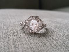 """Halo White Sapphire and Diamond Ring Gemstone Engagement Ring Antique Flower Estate Octagon Cushion Round 14K White Gold Vintage """"The Elsa"""" by PenelliBelle on Etsy https://www.etsy.com/listing/201413844/halo-white-sapphire-and-diamond-ring"""
