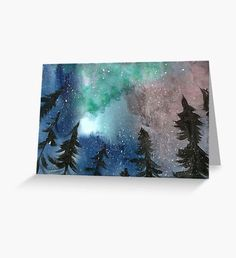 Northern Lights Greeting Card Winter Illustration, Original Paintings, Winter Painting, Original Watercolor Painting, Winter Fairy, Nature Artwork, Art Inspiration, Northern Lights Painting, Fantasy Artist