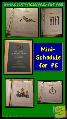 These visuals are developed to help PE teachers have easy-to-make visuals to support students who will benefit from mini-schedules outlining how to complete the activities in PE. To minimize time spent making the visuals, the pictures are designed to be printed out in 8 ½ by 11-inch paper and slipped into page protectors in a notebook. $3 http://www.teacherspayteachers.com/Product/PE-Visuals-for-Autism-Schedule-560327