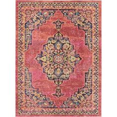 Nourison Passionate Pink Flame Indoor Area Rug (Common: 7 x Actual: W x L) at Lowe's. Botanical corner and medallion patterns in a plush, distressed pile create a wonderful combination of old world elegance and contemporary comfort in the Persian Motifs, Polypropylene Rugs, Round Area Rugs, Yellow Area Rugs, Abstract Pattern, Rug Size, Color Pop, Bohemian Rug, Blue Orange