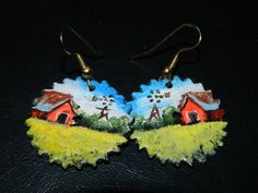 Vintage Hand Painted Saw Blade Earrings Red by TheIDconnection
