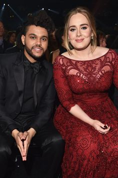 The Weeknd and Adele at the 58th Annual GRAMMY Awards on Feb. 15 in Los Angeles