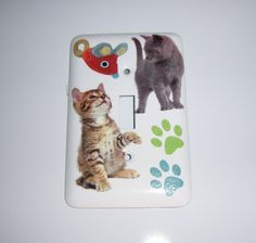 Kitties and mouse steel single light switch by MoanasUniqueDesigns, $10.00
