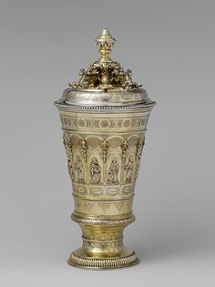 Cup with cover with Hebrew inscriptions  Silversmith: Joachim Michael Salecker (active 1723–52) Date: 1723