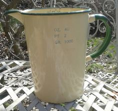 Traditional Enamel Measuring Jug 2 pts by LatelierBrocante on Etsy