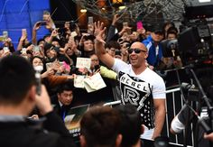 "©JIN LIANGKUAI/LANDOV/MAXPPP -   Movie star Vin Diesel attends a press conference for his new ""Fast & Furious"" movie Furious 7 in Beijing, capital of China, March 26, 2015. The movie will hit Chinese mainland screen on April 12. #cinema #people #photootheday #geste #fan #chine"