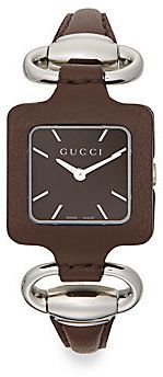 Gucci 1921 Square Stainless Steel & Leather Watch