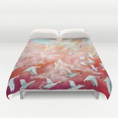 """""""100 Birds in Flight"""", (Series) Oil Paint, Original Not for Sale but available in Duvet Cover,canvas print, etc."""