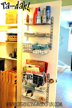 Use garage wire shelving for kitchen closet organization (or, in my case, back of the basement door and stairwell).
