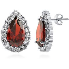BERRICLE Silver-Tone Pear Simulated Garnet CZ Halo Wedding Bridal Stud... ($20) ❤ liked on Polyvore featuring jewelry, earrings, base metal alloy, garnet, stud earrings, women's accessories, bride earrings, bridal jewelry, cubic zirconia earrings and fake earrings