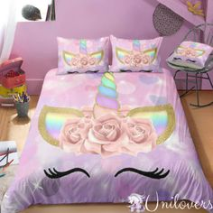 Unicorn Bedroom Decor, Unicorn Decor, Unicorn Themed Room, Unicorn Rooms, Mermaid Bedding, Unicorn Bed Set, Purple Unicorn, Kids Bunk Beds, Girl Bedroom Designs