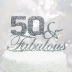 50 and Fabulous Bling Party Supplies Centerpiece Cake Topper