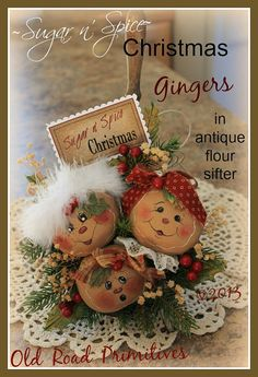 Primitive Gingerbread Pattern Sugar n' Spice Christmas Gingers Pattern Gingerbread Crafts, Gingerbread Decorations, Christmas Gingerbread, Christmas Love, Country Christmas, Xmas Decorations, Christmas Wreaths, Christmas Ornaments, Gingerbread Men