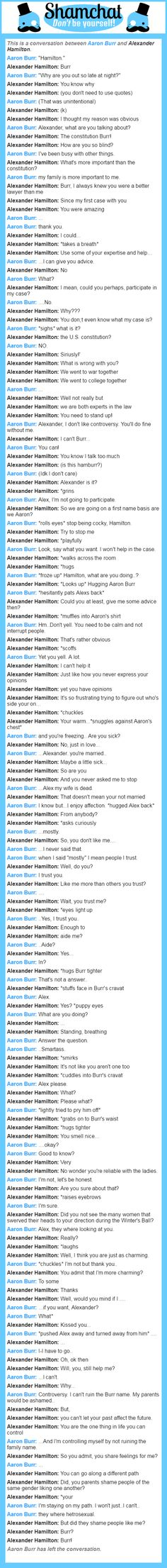 A conversation between Alexander Hamilton and Aaron Burr  My roleplays as A. Ham