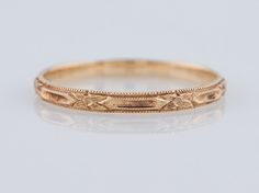 Antique Wedding Band Art Deco Orange Blossom in Vintage 14k Yellow Gold. Minneapolis, MN.