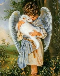 Missing my pets at the rainbow bridge I Believe In Angels, Ange Demon, Angels Among Us, Angel Pictures, Angels In Heaven, Guardian Angels, Tier Fotos, Pet Loss, Angel Art