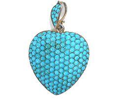 Antique Turquoise Pavé Heart Pendant Locket - The Three Graces