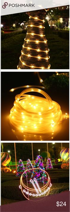 Solar Rope Lights, 33ft 100 LED Waterproof Rope light length-39.37 ft (6.5ft lead cable included); LED quantity - 100; Spacing of LED - 4in. Color: warm white  Low Voltage & Waterproof: Working voltage is 1.2 volt; waterproof grade is IP65.  Creative ideal for landscape; decorative for patio, garden. No wiring required, the solar panel can be easily installed. These lights are turned on automatically in darkness and turned off in daylight. The mode button allows you to decide on the flashing…