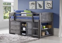 Donco Kids Twin Louver Low Loft Bed Grey 790A-AG