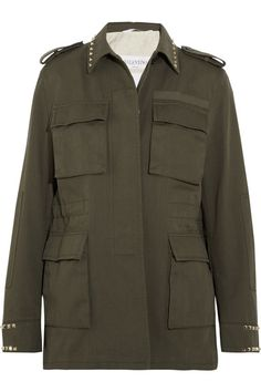 Army-green cotton-twill  Partially concealed button fastenings through front 100% cotton; lining1: 100% Lyocell; lining2: 87% cotton, 13% flax Dry clean  Designer color: Olive Made in Italy