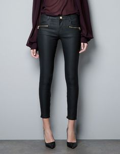 COATED TROUSERS WITH ZIPS - zara