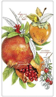 Botanical Holiday Pomegranate 100% Cotton Flour Sack Dish Towel Tea Towel