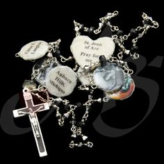 Here is another Confirmation Rosary. This is made with metallic gray Japanese crystals and black Japenese crystals. This is made with an intercession to Joan of Arc. As with all Rosaries, this is made unbreakable. The memorial medallions are: City of Confirmation; Parish of Confirmation; Date of Confirmation; Bishop/Monsignor of Confirmation; Patron Saint; Confirmation Sponsor.